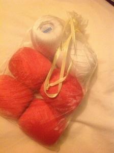My beautifully packaged yarn from LoveKnitting
